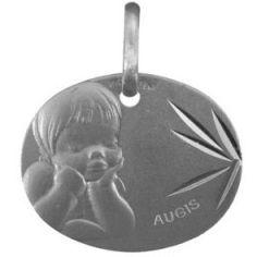 Médaille ovale Ange rêveur 16 mm facettée (or blanc 375°)