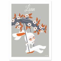 Affiche A4 Les adorables costumés Le lapin (personnalisable)