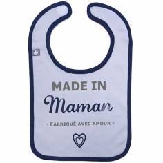 Bavoir à velcro Made in Maman gris et bleu