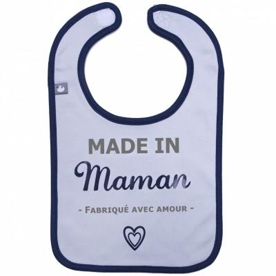 Bavoir à velcro Made in Maman gris et bleu  par BB & Co