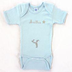 Body bleu à manches courtes personnalisable (6-12 mois)