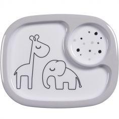 Assiette à compartiments Yummy Dreamy dots gris