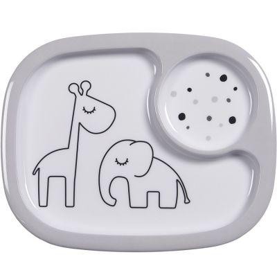 Assiette à compartiments Yummy Dreamy dots gris  par Done by Deer