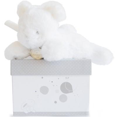 Coffret peluche musicale ours blanc (20 cm) Doudou et Compagnie