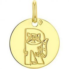 Médaille R comme raton laveur personnalisable (or jaune 750°)