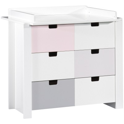 commode 3 tiroirs city rose avec dispositif langer grand. Black Bedroom Furniture Sets. Home Design Ideas