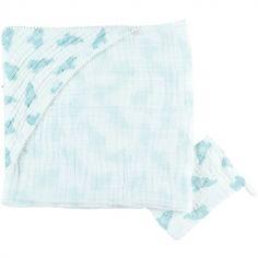 Cape de bain + gant en mousseline de coton Eléphant mint (75 x 75 cm)