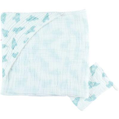 Cape de bain + gant en mousseline de coton Eléphant mint (75 x 75 cm)  par Noukie's