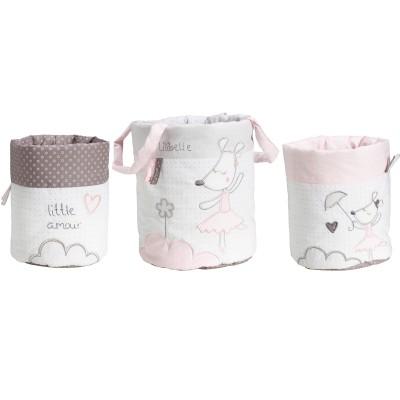 Lot de 3 paniers de toilette Lilibelle  par Sauthon