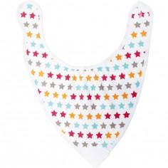 Bavoir bandana avec anneau de dentition étoiles
