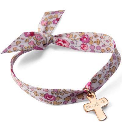 Bracelet maman Liberty avec croix personnalisable (plaqué or)  par Merci Maman