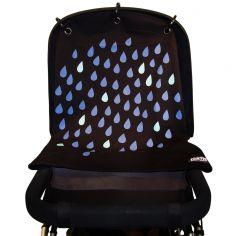Protection pour poussette Baby Peace coton bio Pluie bleu et noir