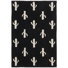 Tapis lavable cactus noir et blanc (140 x 200 cm)