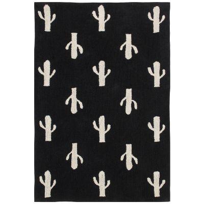 Tapis lavable cactus noir et blanc (140 x 200 cm)  par Lorena Canals