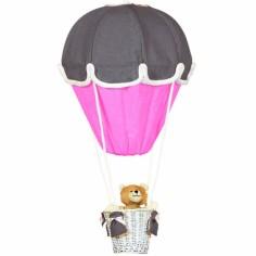 Lampe montgolfière gris foncé et fuchsia