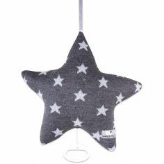 Coussin musical étoile Star gris anthracite et gris (30 cm)