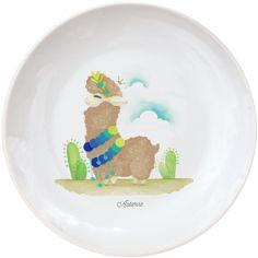 Assiette en porcelaine Lama marron (personnalisable)