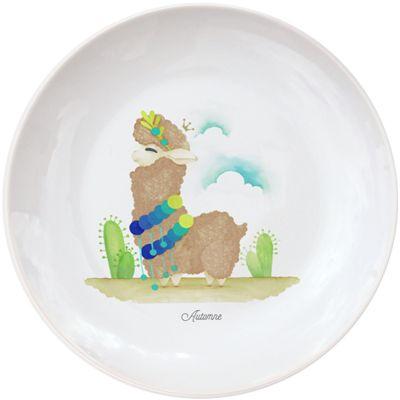 Assiette en porcelaine Lama marron (personnalisable)  par Gaëlle Duval