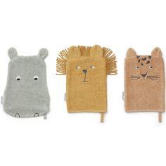 Lot de 3 gants de toilette Sylvester safari