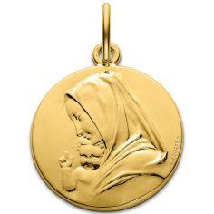 Médaille Vierge à l'enfant par Coeffin 18 mm (or jaune 750°)