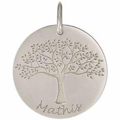 Médaille de naissance Mathis personnalisable 18 mm (or blanc 750°)