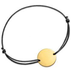 Bracelet cordon médaillon lisse (or jaune 750°)