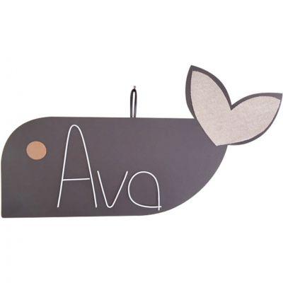 Plaque de porte Zamino baleine (personnalisable) Marie-Laure Créations