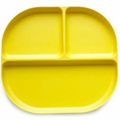 Assiette à compartiments en bambou Bambino jaune citron