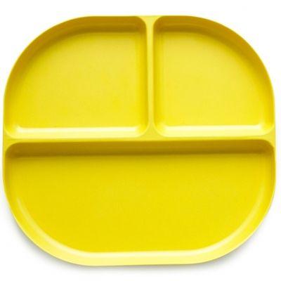 Assiette à compartiments en bambou Bambino jaune citron  par EKOBO
