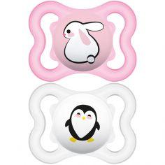 Lot de 2 sucettes anatomiques Suprême lapin et pingouin en silicone (2-6 mois)