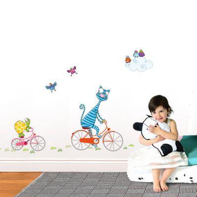 Stickers muraux Chat à bicyclette  par Série-Golo