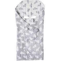 Couverture nomade en mousseline de coton Eléphant gris (120 x 100 cm)