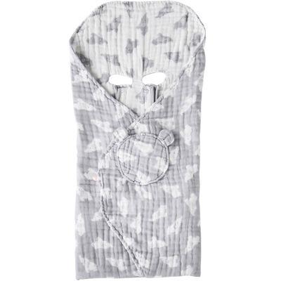 Couverture nomade en mousseline de coton Eléphant gris (120 x 100 cm)  par Noukie's
