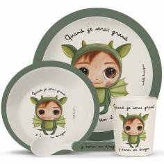Coffret repas en bambou Quand je serai grand j'aurai un dragon (4 pièces)