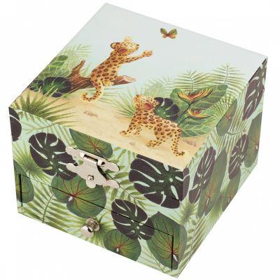 Boîte à bijoux musicale cube Savane  par Trousselier