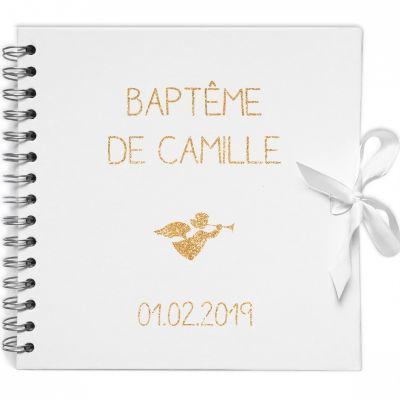 Album photo baptême personnalisable blanc et or (20 x 20 cm) Les Griottes