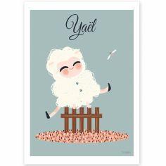 Affiche A4 Les adorables costumés Le mouton (personnalisable)