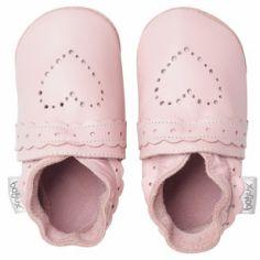 Chaussons bébé cuir Soft soles coeur pointillés rose (3-9 mois)