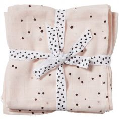 Lot de 2 langes Dreamy dots rose (70 x 70 cm)