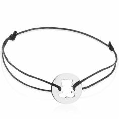 Bracelet cordon enfant Ourson (or blanc 750°)