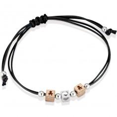 Bracelet cordon noir 2 cubes garçon 1 cube coeur (or rose 375° et argent 925°)