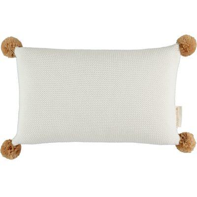 Coussin tricoté à pompons blanc So Natural (22 x 35 cm)  par Nobodinoz
