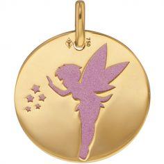 Médaille Fée personnalisable (acier rose et or jaune 750°)
