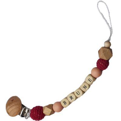 Attache sucette en bois framboise et rose pâle (personnalisable)  par Tata Lucette