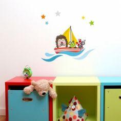 Stickers muraux Petit navire avec animaux
