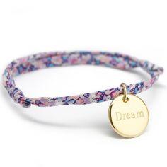 Bracelet cordon liberty Kids médaille ronde personnalisable (plaqué or)
