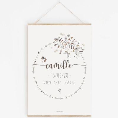 Affiche de naissance A3 couronne de fleurs avec support (personnalisable)  par Lutin Petit Pois