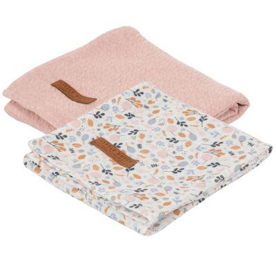 Lot de 2 langes en coton Pure pink et Spring flowers (70 x 70 cm)  par Little Dutch