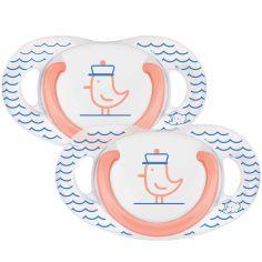 Lot de 2 sucettes physiologiques en latex Navy (6-18 mois)