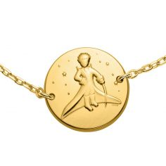 Bracelet chaîne Le Petit Prince dans les étoiles 14 mm (or jaune 750°)